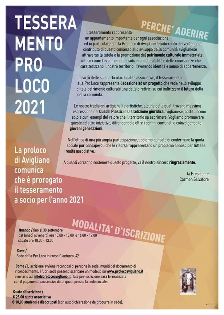 Tesseramento Pro Loco Avigliano 2021